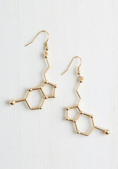 Neurotransmit Your Love Earrings. Show your admirers how happy you feel inside by accessorizing with these golden earrings! #gold #modcloth