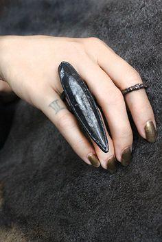 animus-black claw ring-orthoceras fossil by BelladonnanoirJP