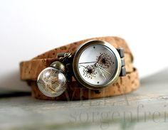 Real DANDELION & CORK STRAP Watch. Dandelion watch face and real dandelion…
