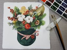 Watercolor Christmas Cards, Cute Cartoon, Watercolor Flowers, Art Projects, Iphone, Rose, Watercolors, Advent, Illustration