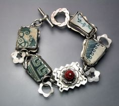 Pottery Shard Bracelet, via Etsy, it would be so special to use a broken piece from my  Grandmother's china and share with my sisters