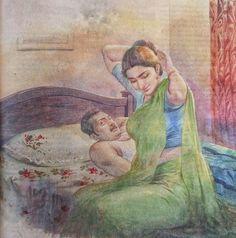 Ravivarma Paintings, Indian Art Paintings, Painting Prints, Human Figure Sketches, Figure Sketching, Sexy Painting, Woman Painting, Indian Drawing, Romantic Drawing