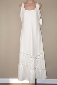 $250 Dana Buchman Sleeveless Lace Crochet Boho Hippie Linen Long Maxi Dress sz L #DanaBuchman #Maxi