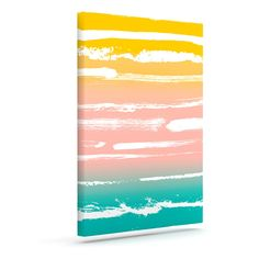 """Anneline Sophia """"Painted Stripes Peach"""" Pink Teal Outdoor Canvas Art"""
