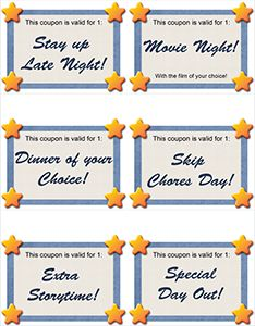 Childrens reward tickets to print - love the idea of adding something like this to our prize bin, or using as rewards for completing a sticker chart.