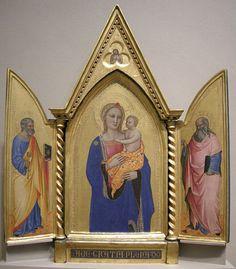 Nardo di Cione, Madonna col bambino tra i santi Pietro e Giovanni evangelista.