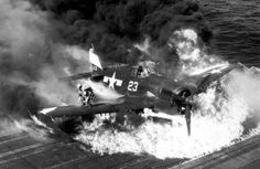 Hellcat burning , USS Lexington Source: mission4today.com war soldier history ww2 wwii 1939-1945 World War Two