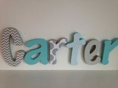 Hey, I found this really awesome Etsy listing at https://www.etsy.com/listing/175986157/wooden-letter-boy-nursery-6-letter-set- My baby's name will not be Carter, but too cute!
