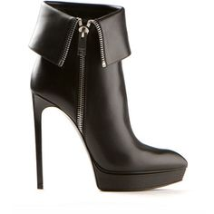 Saint Laurent black zipped folded leather ankle boots