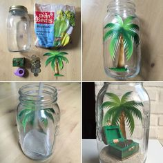 Palmtree with moneybox Diy And Crafts, Crafts For Kids, Marriage Gifts, Diy Presents, Jar Gifts, Mason Jar Crafts, Unusual Gifts, Creative Gifts, Wedding Gifts