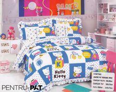 Lenjerie de pat bumbac pentru o persoana cu patratele si Hello Kitty