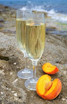 Cocktail recipe for a Billionaire Bellini made with 3 ounces of Sparkling Wine 3 ounces of Billionaires Row Champagne 2 Ounces of fresh white peach puree' Bellini Cocktail, Cocktail Drinks, Cocktail Recipes, Alcoholic Drinks, Cocktails, Cocktail Ideas, Beverages, Peach Puree, Oranges And Lemons