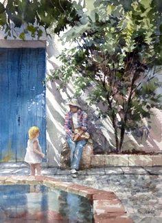 by Takashi Akasaka Sketch Painting, Watercolor Sketch, Watercolor Artists, Watercolor Portraits, Watercolor Paintings, Watercolors, Watercolor Architecture, Watercolor Landscape, Watercolor Flowers Tutorial