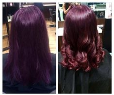 This client came in with purple hair (as seen in the before shot). OCS Powder Lightener and with foils was used to lighten through the ends and then an all over colour of XBV and Hair by Naturally Organic Hair Salons in Brisbane, Queensland. Organic Colour Systems, Organic Hair Salon, Hair Trends 2015, Purple Hair, Hairdresser, Curls, Naturally Organic, Wigs, Brisbane Queensland