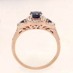 The 3 stone, blue sapphire and diamond engagement ring is romantic with whimsical setting details beneath the trilogy of blue sapphires. Sapphire Wedding Rings, Diamond Engagement Rings, 3 Things, Blue Sapphire, Whimsical, Rose Gold, Romantic, Stone, Jewelry