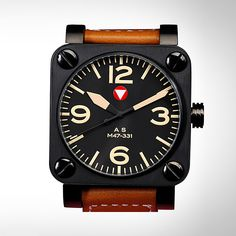 i love these big square face watches with the modern military look - Schwarzenegger Military Tank Watch