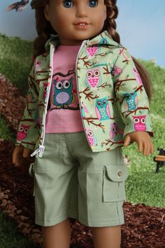 American girl doll clothes, 18 inch doll clothes, Jacket, cargo pants and t-shirt outfit