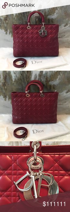 """DIOR  """"Lady Dior"""" XL Cannage Red Leather Bag Gorgeous authentic Christian Dior XL Lady Dior bag in a beautiful red color. Removable shoulder strap, silver tone hardware. Excellent condition. Dior Bags Satchels"""