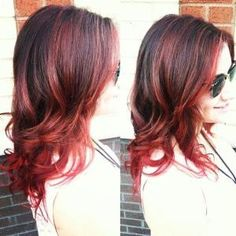 Dark Brown hair with cherry red highlights and ends -- By Taylor Nick, William Edge Salon, Nashville, TN by lou