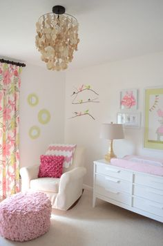 capiz chandelier in nursery and cute pouf!  Like it all.
