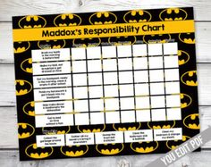Check out Batman Chore chart printable, Boys Reward Chart, Responsibility Chart, Weekly Chore Chart, Behavior Chart, chore chart for boys, YOU EDIT on sugarpickledesigns