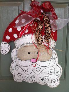 Santa burlap door hanger on Etsy, $40.00