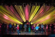 satin fabric youth church worship stage design