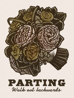 Parting ~ Martin Mazorra's Language of Flowers, Bouquet Series ~ Color Woodcut and Letterpress print, 18 x 24 inch, French's 100 lb. Cover, Insulation Pink. Handcut, Handprinted with moveable type. Edition of 20.