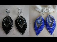 Tutorial about how to stitch a wonderful pair of Russian Leaf Earrings with MiniDuo Beads. Bead Jewellery, Seed Bead Jewelry, Seed Bead Earrings, Diy Earrings, Leaf Necklace, Leaf Earrings, Seed Bead Tutorials, Beading Tutorials, Beaded Tassel Earrings