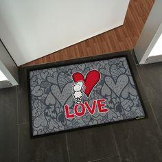 Romantisches Liebes-Motiv für die Fußmatte! eine ganz besondere Geschenkidee für den Valentinstag! http://sheepworld.matmaker.at/
