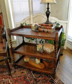 Antique English Oak Barley Twist Tea Trolley Cart Table Bar Server - this is the surprise. You better like it!