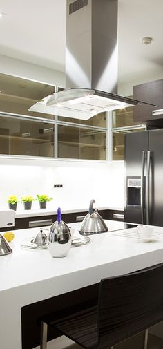 Curved Glass Island Range Hood From Proline Range Hoods. Black And White  Kitchen. Large