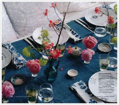 Dinner party in shades of moody blues and bright pinks