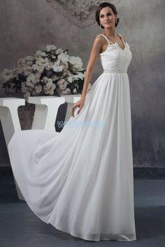 Fashionable Sheath Sling Floor Length Chiffon white Party Dress with Shirring(ZJ6221)