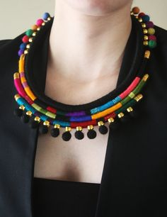 Tribal Ethnic Necklace, African Inspired Wrapped Necklace, Pompom Necklace, Color Block Necklace, Boho Jewelry