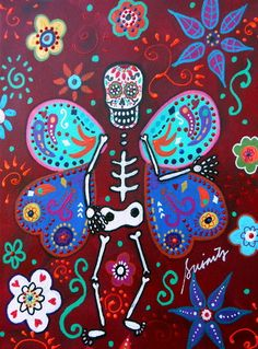 MEXICAN Day of the Dead BUTTERFLY Flowers Prisarts Original Painting_PRISTINE;    Check out PRISARTS paintings on Ebay