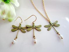 Dragonfly Earrings Necklace Set, Sage Green Patina, Bridesmaid Jewelry, Gift for Her, Wedding