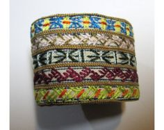 Hand Embroidered Rich Multi-Colored Cuff with Vintage Green Button