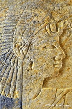 Princess Sitamun. Detail from the Sandstone block fragment from the temple of king Amenhotep II on the west bank at Thebes, with raised relief, preserved area with head of Princess Sitamun, daughter of Amenhotep III