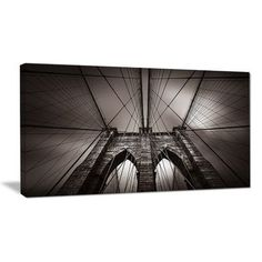 "DesignArt 'Brooklyn Bridge in NYC USA' Photographic Print on Wrapped Canvas Size: 28"" H x 60"" W x 1.5"" D"
