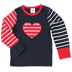 Polarn O. Pyret Hearts and Stripes Kids Top. Red, white and blue classic striped kids clothes.