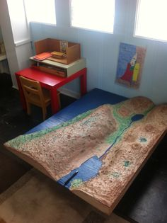 A full-size Relief Map of the Land of Israel measuring nearly 3' by 4.5' invites children to wonder about the mystery of  the incarnation. St Stephens Episcopal Church, Houston, TX