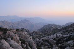 Zonsondergang in Dana, Jordanie