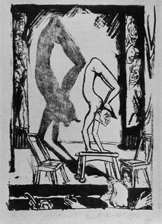 Erich Heckel (1883-1970). Handstand, Germany, 1916, Lithograph on japan paper | LACMA Collections