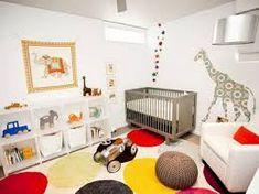 Animal-Inspired Nursery With Multicolored Rug Kids Bedroom Designs, Kids Room Design, Nursery Design, Animal Inspired Nursery, Kids Room Paint, Kids Rooms, White Nursery, Bright Nursery, Nursery Boy