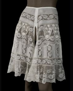 Fancy knickers trimmed with Irish crochet, c.1905, from the Vintage Textile archives.