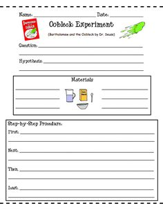 FREE Oobleck Experiment Worksheets; use during chapter on matter to demonstrate how matter changes (chemical reactions)
