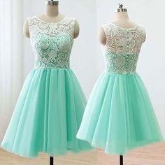 Scoop a-line short mint lace cheap bridesmaid dress, fs1290