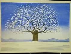 Winter tree with watercolor