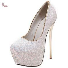 464bbbb6e4f9da Oasap Femme Chaussure A Talons Hauts Plate-forme Talons Aiguilles Pailleté,  Blanc EURO37/